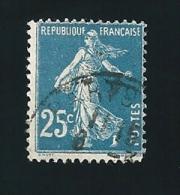 N° 140 Semeuse Fond Plein Bleu France Oblitéré 1907(variété Arrondi Du 5 ) - Variétés Et Curiosités