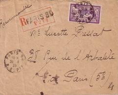 PARIS 80 - 126-1-1923 - N°144 MERSON 40c SEUL SUR LETTRE RECOMMANDEE. - 1877-1920: Période Semi Moderne
