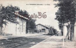 (33) Podensac - La Gare - Train Tren Locomotive - 2 SCANS - France