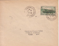 PARIS - 1937 - CONGRES DES CHEMINS DE FER - 11-6-1937 - N°339 30c LOCOMOTIVE SEUL SUR LETTRE. - 1877-1920: Période Semi Moderne