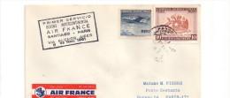 358 Santiago Paris  Air France  8.11.1961 Etiquette Par Avion Air Mail - Poste Aérienne
