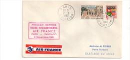 360 Paris Santiago 2.11.1961 Air France Etiquette Par Avion Air Mail - Poste Aérienne