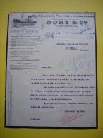 Belle Facture  Illustrée 1928 Transports Maritimes Mory & Cie Boulogne Sur Mer - Trasporti