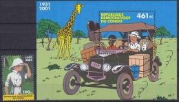 Congo 2001 Tintin / Kuifje 1w + Bl ** Mnh (20945) - Mint/hinged