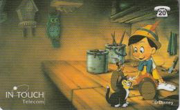 BELGIUM - Disney/Pinocchio, In Touch Telecom prepaid card 200 BEF, used