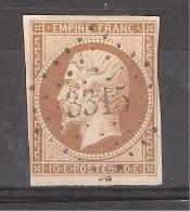 Empire N° 13 B B , 10 C Brun Obl Pc 3315 De TANLAY, Yonne , Indice 8 , Signé ,TB, Cote + 80 Euros - 1853-1860 Napoléon III