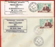 République Malgache Proclamation De L'Indépendance 26 Juin 1960 Tamatave Et Fianarantsoa  Les Deux - Madagascar (1889-1960)