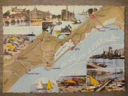LES PLAGES DE L'HERAULT (34) . MULTIVUES . ANNEE 1968 - Maps