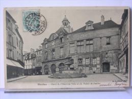 78 - MAMTES - PLACE DE L´HOTEL DE VILLE ET DU PALAIS DE JUSTICE - DOS SIMPLE - 1904 - Mantes La Ville