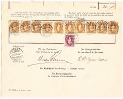 Schweiz Bordereau Postverwaltung Bienne 3.8.1898 Mit  10 X 3Fr + 1Fr. Stehende Helvetia - 1882-1906 Armoiries, Helvetia Debout & UPU
