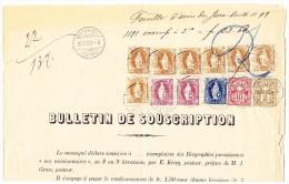 Schweiz Bordereau Postverwaltung Moutier 16.11.1898 Mit  7 X 3Fr, 2 X 1Fr. Und 50Rp. Stehende Helvetia + Je WZ 2. U 10Rp - Lettres & Documents