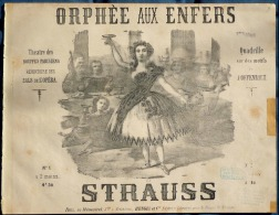 PARTITION XIX PIANO GF ITALIEN ORPHÉE AUX ENFERS OFFENBACH QUADRILLE STRAUSS 1859 ILL BERTRAND - Musique & Instruments