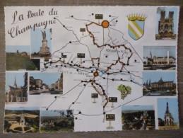 LA ROUTE DU CHAMPAGNE (51).MULTIVUES ET CARTE DE LA VALLEE DE LA MARNE. ANNEE 1965 - Cartes Géographiques