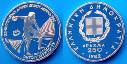 GREECE 250 A 1982 ARGENTO PROOF SILVER PANEUROPEAN GAMES ANCIENT OLYMPIC DISCO PESO 14,44g TITOLO 0,900 CONSERVAZIONE FO - Grecia
