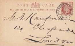 England 1887 - 1/2 Penny Ganzsache Auf Pk  Von Birmingham > London - 1840-1901 (Victoria)