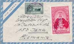 Venezuela 1952 - 2 Sondermarken Auf LP-Brief V.Caracas > Jena - Venezuela