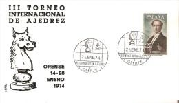 ORENSE SPD III TORNEO INTERNACIONAL DE AJEDREZ DEL AÑO 1974 (CHESS) CABALLO-HORSE - FDC