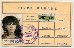 PALERMO / ABBONAMENTO MENSILE  AMAT 1986 - Abonnements Hebdomadaires & Mensuels