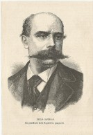 Spagna, 1874, Emilio Castelar Quarto Presidente Della Prima Repubblica, Litografia Cm. 13 X 20. - Documentos Históricos