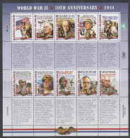 MARSHALL ISLANDS, 2014, MNH, WWII, 70TH ANNIVERSARY OF 1944 , PLANES, SHIPS, MACARTHUR, SHEETLET - WO2