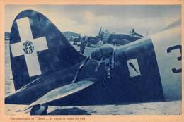 """03323 """"R. AERONAUTICA - UNA SQUADRIGLIA DI SAETTE DA CACCIA IN ATTESA DEL VOLO"""" II GUERRA MOND. ILLUSTR. ORIG. - Aviazione"""
