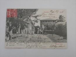 ZANZIBAR  N° 76 SEUL SUR CARTE POSTAL VIA MELBOURNE POUR LA FRANCE ROANNE LOIRE 1905 - Zanzibar (...-1963)