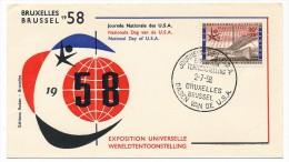 Lot De 8 Enveloppes EXPOSITION UNIVERSELLE DE BRUXELLES 1958 - Cachets Temp. Belgique, Italie, USA, Tchécoslovaquie