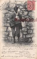 ALGERIE -  SCENES ET TYPES -  Nègre  Musicien - Homme Noir  - 1904 - 2 Photos - Dos Précurseur - Algeria