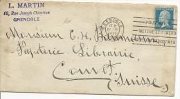 1925 - ISERE - PASTEUR YVERT N° 179 SEUL SUR LETTRE De GRENOBLE Pour COUVET (SUISSE) - COTE MAURY = 75 EUROS - Postmark Collection (Covers)