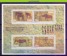Mui145 FAUNA OLIFANT NEUSHOORN HERT HUNTING PREHISTORIC ROCK PAINTING FELSMALEREIEN RHINO DEER ELEPHANT SWA 1976 PF/MNH - Prehistorics