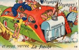 54Ace   72 La Fleche Carte à Systeme Dépliant De Vues Sous Le Moteur Gazogéne De L'autobus - La Fleche