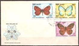 Cambodge - Enveloppe 1er Jour Datée Du ??/??/90,timbres 943-945-946  (bon état) - Farfalle