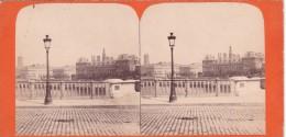 Photo Stereoscopique Ancienne De Paris Hotel De Ville Vue Du Pont Avant 1900 - Stereo-Photographie