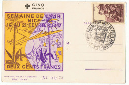Semaine De L'air    1947   Nice  Carte  Oficielle   Philatélique - Correo Aéreo