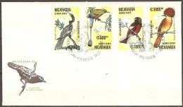 Nicaragua - Enveloppe 1er Jour Datée Du 08/07/89,timbres 1286-1288-1289-1291  (bon état) - Vogels