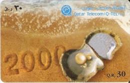 TARJETA DE QATAR DE UNA OSTRA CON UNA PERLA (SEASHELL) - Qatar