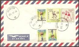 Turquie - Enveloppe Datée Du 13/01/57,timbres 1293x3-pa35/36   (bon état) - Altri