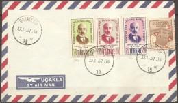 Turquie - Enveloppe Datée Du 13/01/57,timbres 1314 à 1316 + ??   (bon état) - Altri
