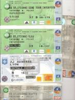 LOT 5 BILLETS ASSE SAINT ETIENNE FOOTBALL LYON NANTES AUXERRE INTERTOTO CLUJ - Programas