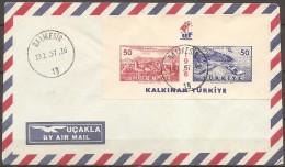 Turquie - Enveloppe Datée Du 13/01/57,bloc 7   (bon état) - Altri