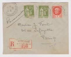 Y & T PAIX 284A X 2 Ex + PÉTAIN 521 SUR LETTRE RECOMMANDÉE 19-4-1944 NOTRE DAME DE GRAVENCHON DANTANT POUR PARIS - Postmark Collection (Covers)