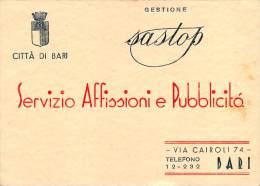 """03335 """"CITTA' DI BARI - SERVIZIO AFFISSIONI E PUBBLICITA' - GESTIONE SASTOP """" CARTONCINO PUBBLICITARIO STAMPATO IN RIL. - Pubblicitari"""