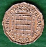 1 PIECE ANGLETERRE THREE PENCE 1960 - DEI. GRATIA. REGINA. F:D: +  ELIZABETH .II : N° 59 - 1902-1971 : Monete Post-Vittoriane