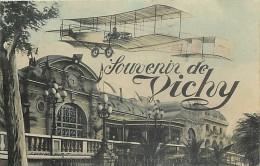 Depts Div -allier - Ref AA791- Souvenir De Vichy -montage Photo  -avion - Aviation  -carte Bon Etat  - - Vichy