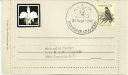 AUSTRALIE. Fête De L´Orchidée A Brisbane En 1982, Sur Entier Postal Faucon Pélerin - Orquideas