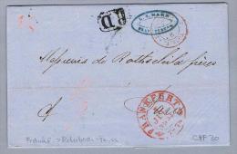 DE NDP Frankfurt 1854-07-05 BOM über Rohrbach Nach Paris - Norddeutscher Postbezirk