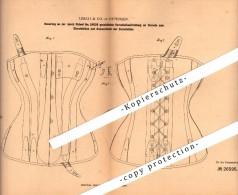 Original Patent - Lerch & Co In Ottensen B. Hamburg , 1883 , Corset , Korsett !! - Leibwäsche