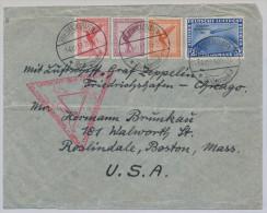MiNr 497 + 379 A379 381 50. Ozeanüberquerung Graf Zeppelin Chicagofahrt 1933 Friedrichshafen Nach Roslindale Boston / US - Covers & Documents