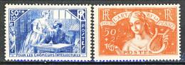 Francia 1935 Pro Intellettuali Disoccupati Y&T Serie N. 307 - 308 MNH - Ungebraucht