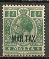 Timbres - Malte - 1918 - 1/2 D. - WAR TAX -